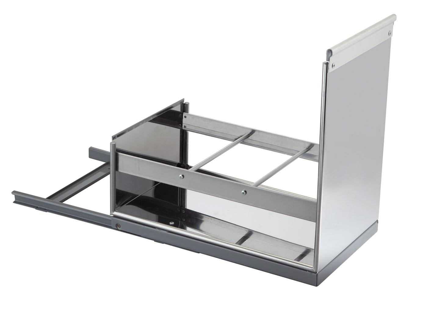 Porta detersivi e bottiglie estraibile per interno base in acciaio inox 304 planet cucina - Porta detersivi ...