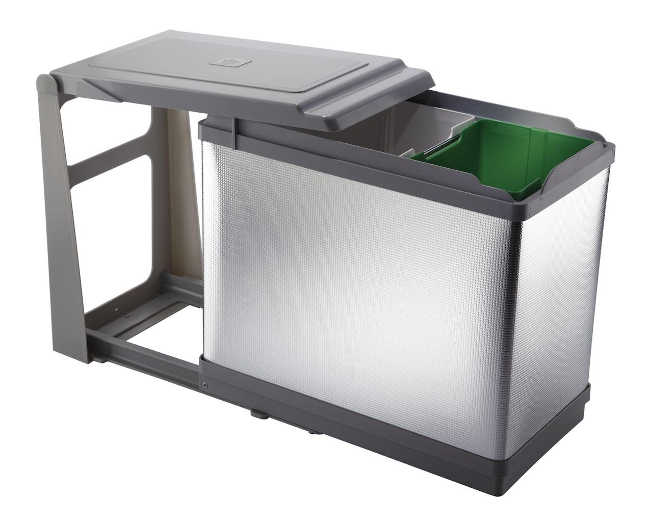 Pattumiera Estraibile Per Base Cucina Ecologica Alluminio Secchi 1x16l 1x10l Planet Cucina
