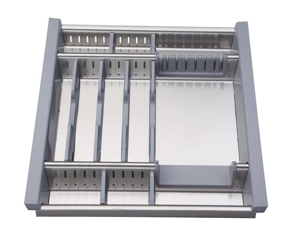 Portaposate da cassetto in acciaio inox adattabile modulo 50cm planet cucina - Porta posate da cassetto ...