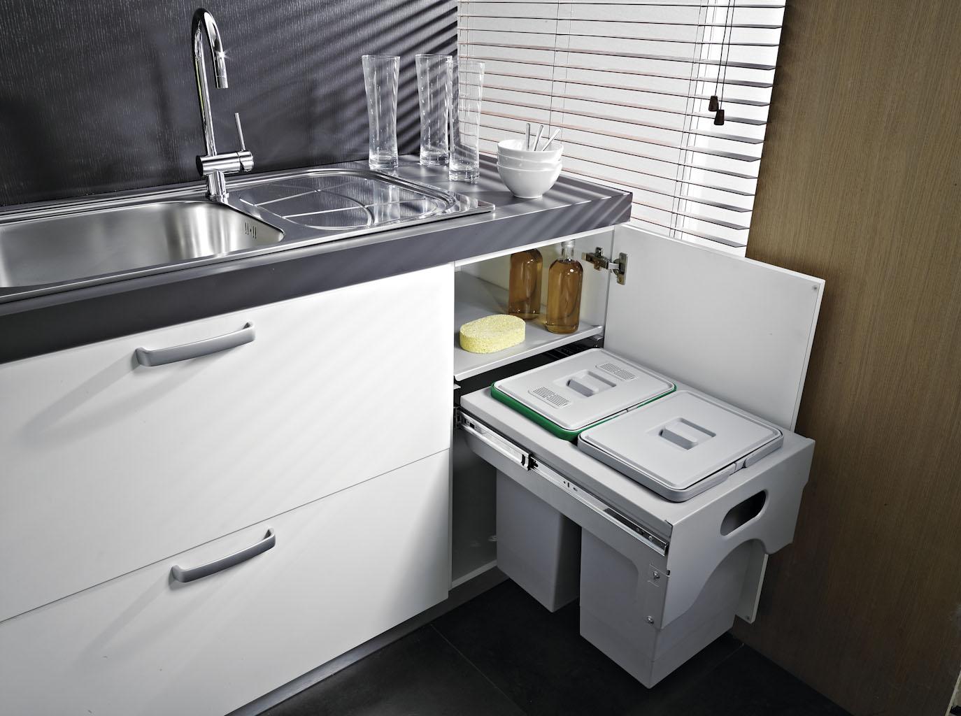 Pattumiera Estraibile Cabinet Per Base Cucina Modulo 45cm Ecologica Secchi 2x15l Planet Cucina