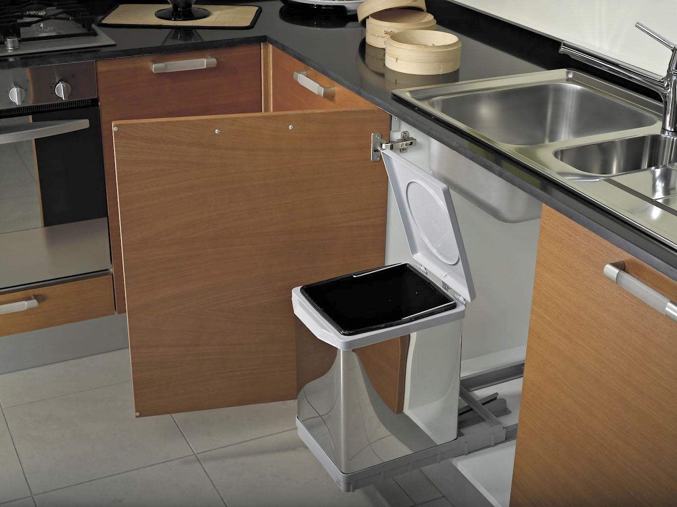 Pattumiera estraibile per base cucina ecologica alluminio for Pattumiere per cucina