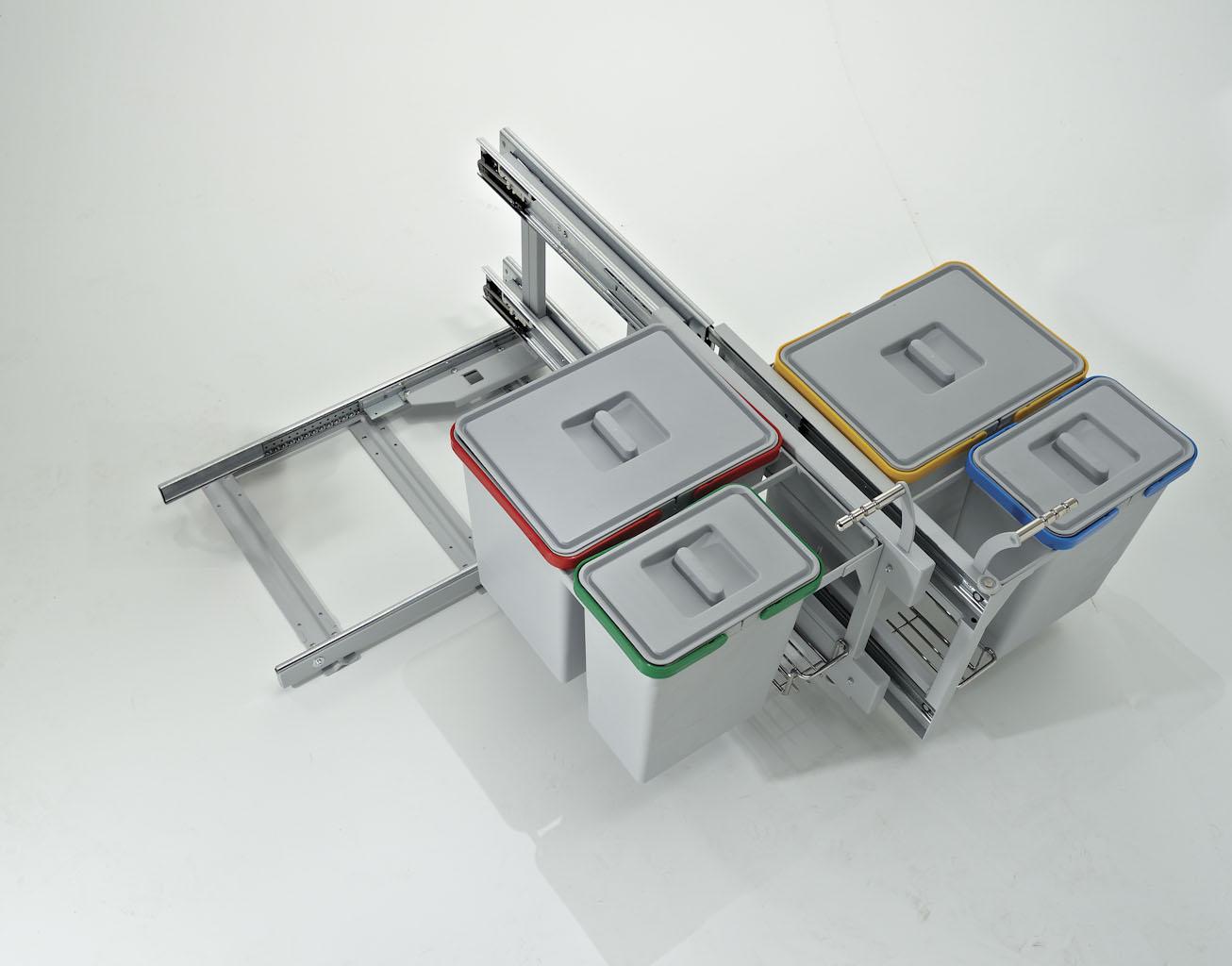 Pattumiera Per Cestone Sottolavello pattumiera estraibile per base angolo 105cm cucina; ecologica secchi  2x15+2x6l